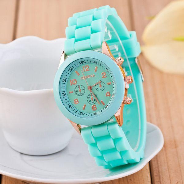 Новая Мода Женева часы Повседневная Дамы белые Силиконовые Женева Shadow Кварцевые