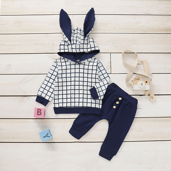 autumn infant baby boy girl clothes ears plaids hoodie +long pants outfit