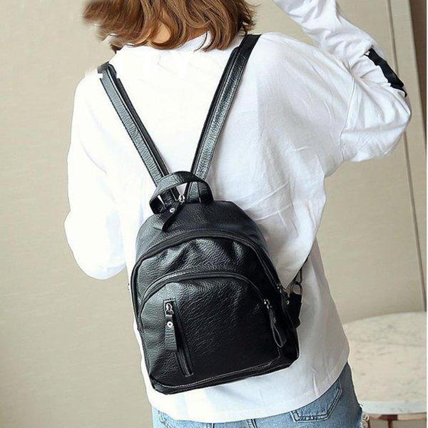 #h40 women backpack purse pu leather backpack female school bag large capacity travel bag cute purse (549323003) photo