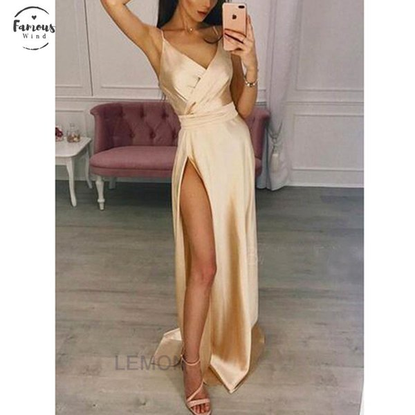Fashion Hot Sale Women Split Strappy Sparkle Formal Wedding Long Dresses Evening Sexy Silk Sleeveless V Neck Party Dress