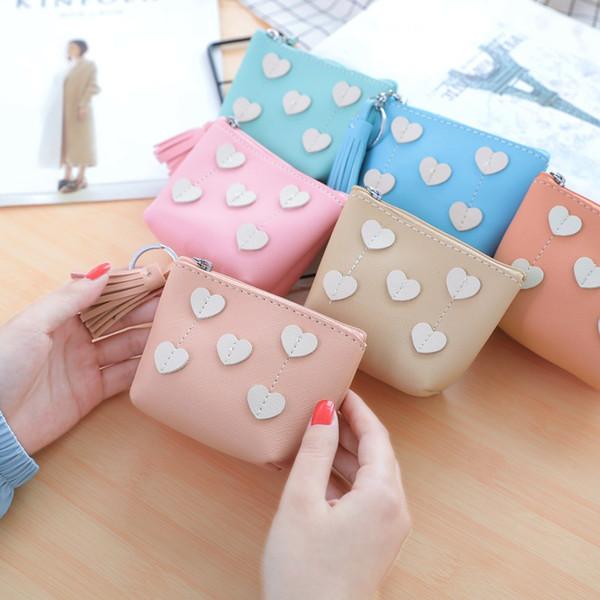 new portable cute mini zipper coin purse heart embellishment women card package money bags female purse wallet (511485459) photo