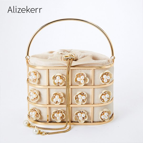 flower pearl evening bag women handmade metal basket rhinestone cage clutch purses and handbags new (522286701) photo