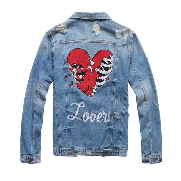 Модельер Slim Fit Мужские рваные джинсовые куртки сердца вышивки Проблемные мотоцик фото