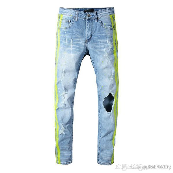 Мужские Hole Проблемные рваные джинсы Байкер мотоциклов Slim Fit Denim брюки Модельер Hip Hop Размер мужские джинсы высокого качества 28-40 фото