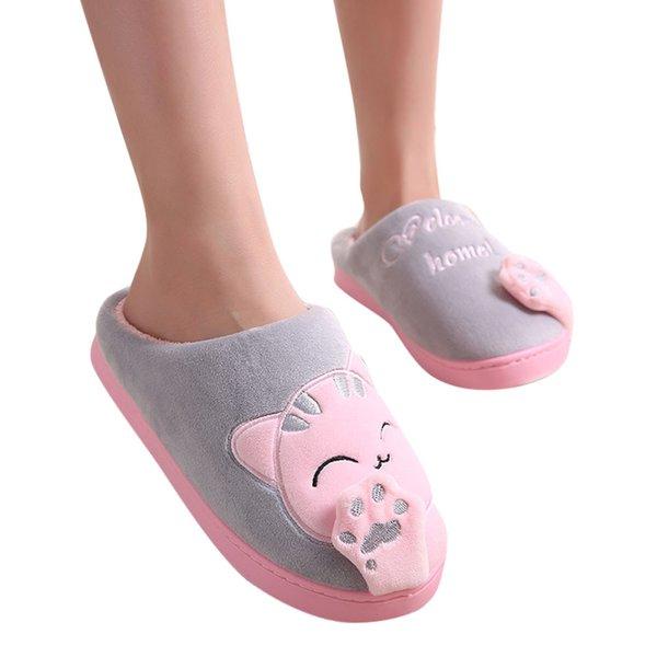 Милые нескользящие зимние животные женские тапочки домашние женские комфортные напольные Женские туфли хлопчатобумажные женские домашние тапочки плюшевые тапочки фото