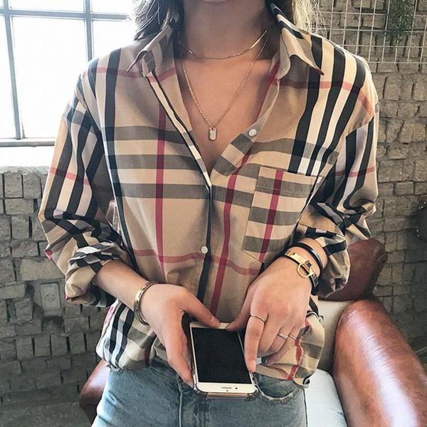 European new fashion women's turn down collar long sleeve plaid grid print blouse shirt plus size tops S M L XL XXL