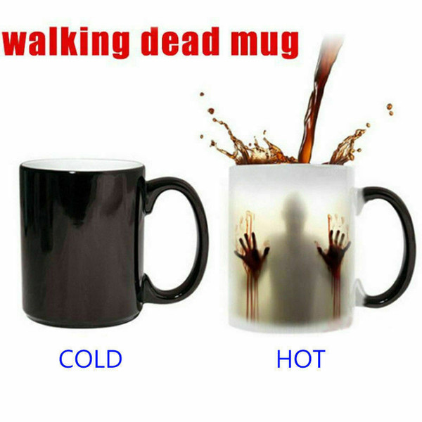 heating color changing ceramic mugs walking dead coffee mug cup halloween funny magic cups