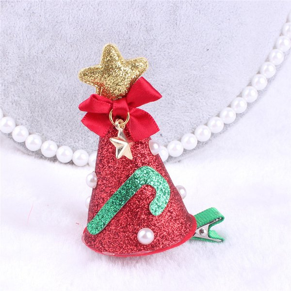 1 ПК Рождество заколка девочка заколка для волос бант цветок мини-заколки звездные дети детская заколка для волос блесток клип головные уборы фото