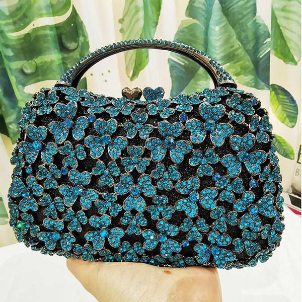 blue purse rhinestone black handbags women bags 2020 flower handle party purse chain shoulder mini handbags (536313362) photo
