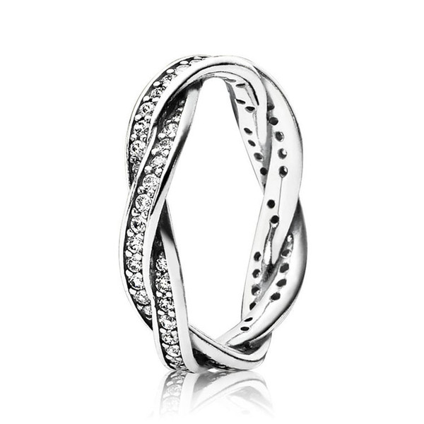 100% 925 Sterling Silver Sparkling Twisted Lines Ring Original Box for Pandora 18K Rose gold CZ Diamond Luxury designer Women Rings Sets