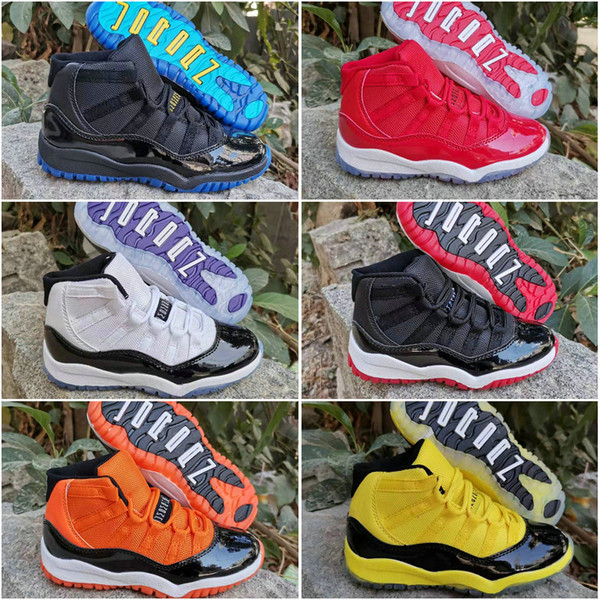 11 Space Jam bred concord gym red gamma blue Orange Yellow Kids Children Basketball Shoes Jumpman 11s Youth Boys Girls Sports Sneakers