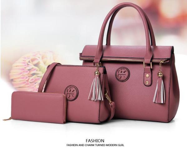 Горячая леди сумки новый роскошный искусственная кожа кисточкой сумки 3 шт. компо