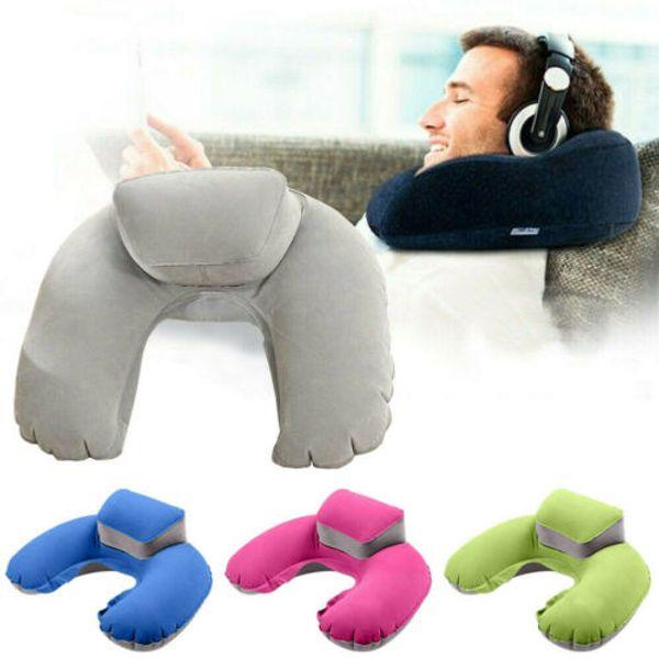 Портативный путешествия надувные U-образная подушка шеи подголовник воздуха мягкая подушка для путешествия самолет подушка синий зеленый розовый серый фото