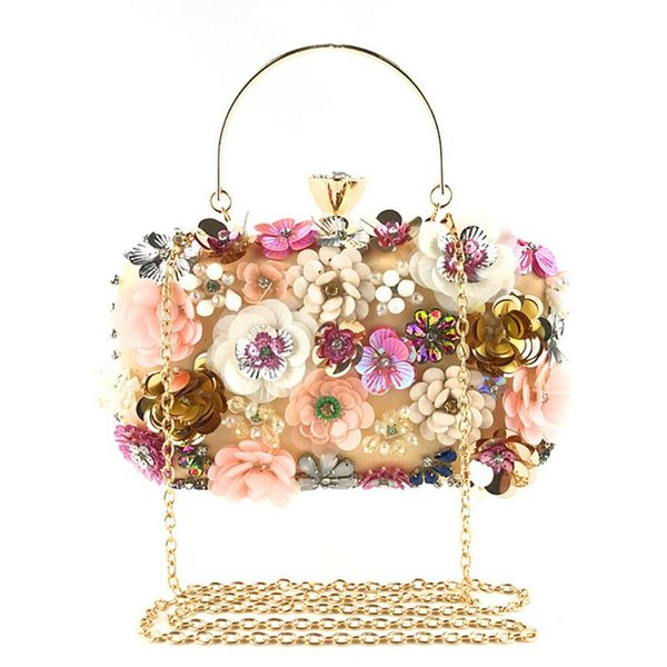 women flower decoration clutches bag appliques evening chain crossbody bags party purses and handbags brand designer (553802507) photo