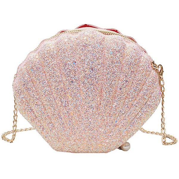 new women girls little mermaid seashell purse cross-body shoulder bags glitter sequins chain evening purse (503351154) photo
