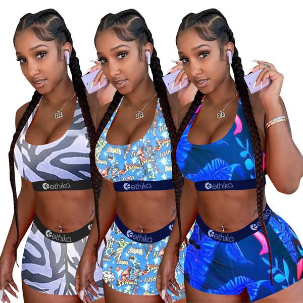 9 color Ethika Women Designer Swimsuit Crop Top Vest + Swim Shorts Trunks Boxers 2 Piece Set Tracksuit Patchwork Shark Camo Swimwear hot