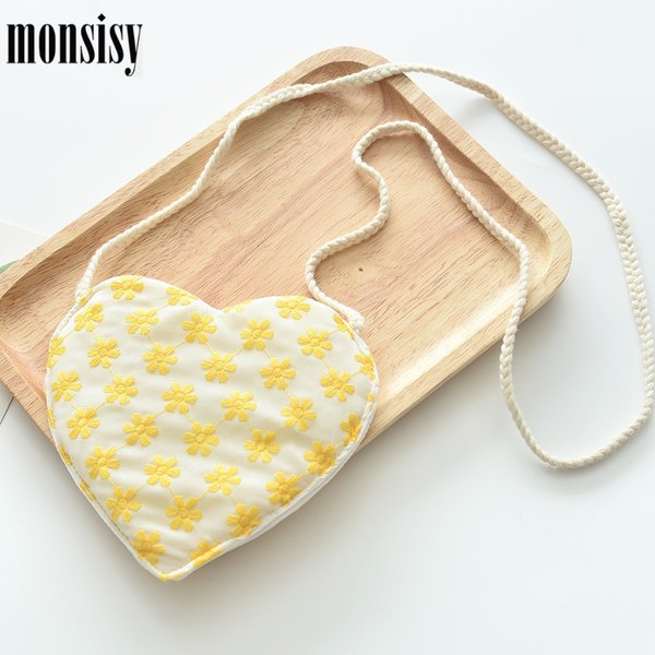 monsisy 5pcs cute embroidered heart bag for baby girl purse and handbag children wallet kid coin pouch bag baby flower small (553457044) photo