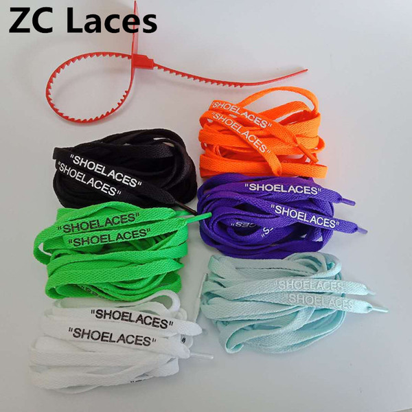 Silicone Printing 4 Sides SHOELACES With Colorful C.2018 Zip Ties For Off Shoes Shoe Laces Flat Polyester Custom Colored With Zip Tag 160cm