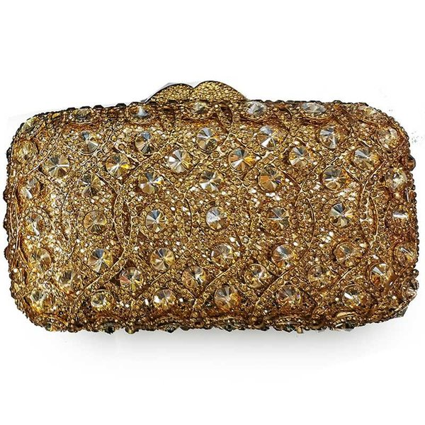 xiyuan gold rhinestone clutch purse gemstone bags 100% handmade dinner dress handbags wedding mini clutches banquet purses (535302043) photo