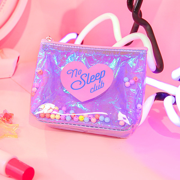 sleepless girl beads coin purse sequin harajuku bag ins style girl heart makeup bag women (530689041) photo