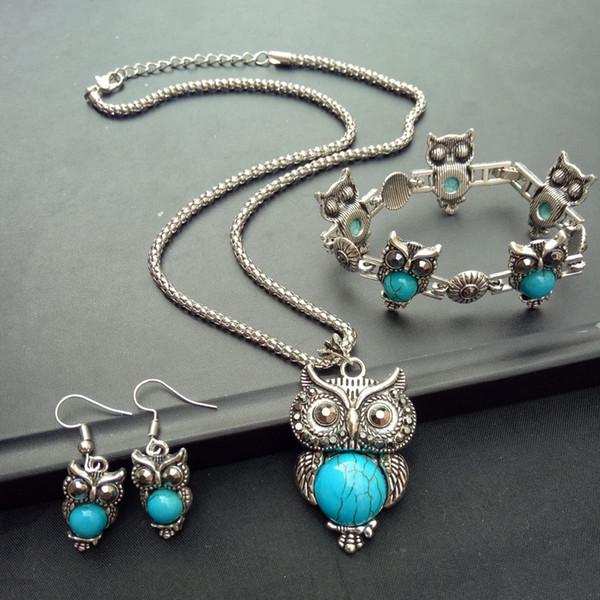 Оптовая серьги браслет ожерелье бирюзовый устанавливает большой зеленый сова оч