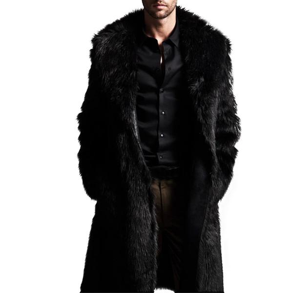 Мужчины теплая зима длинные пальто Мужские высокое качество искусственного меха