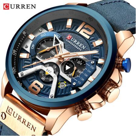CURREN Повседневные Спортивные Часы для Мужчин Синий Лучший Бренд Класса Люкс Военн