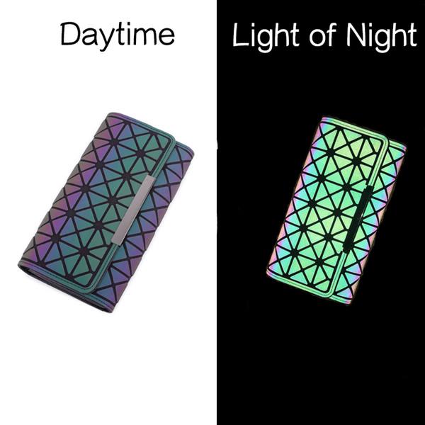 three folds wallet purse for women lattice card holder for ladies portefeuille coin purse porte monnaie luminous geometric shape bag (470176381) photo
