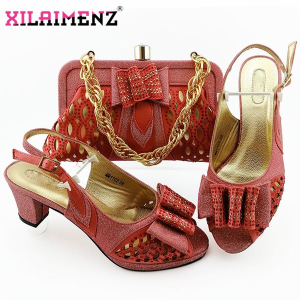 coral african woman sandals shoes with purse set nigerian high heels shoes and bag set for wedding party (502915303) photo