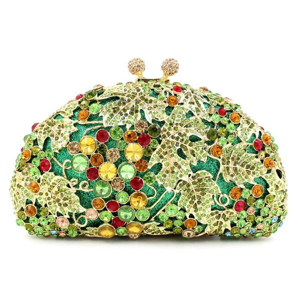 luxury handmade party bags green crystal evening bags women evening clutch bag wedding formal dinner handbags purses (549406864) photo