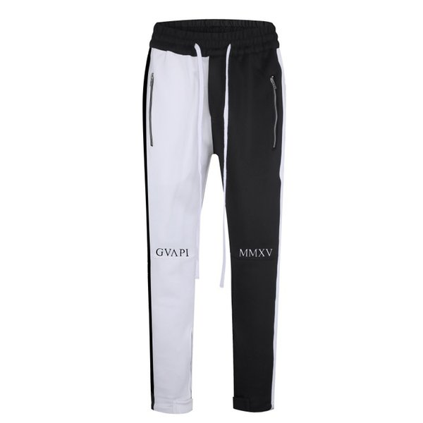 2020 New Mens Stylish Panelled Pants Embroidery Letters Skinny Slim Straight Frayed Denim Trousers New Fashion Skinny Trackpants Men Clothes