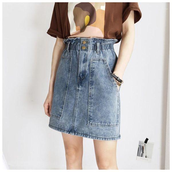 Short Elastic Waist Pockets Clothing Womens Summer Button High Waist Dresses Womens Designer Denim Skirts Fashion