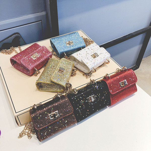 new korean children's shoulder bag fashion trend wild sequins small square bag cute little girl with crossbody purse (457405064) photo