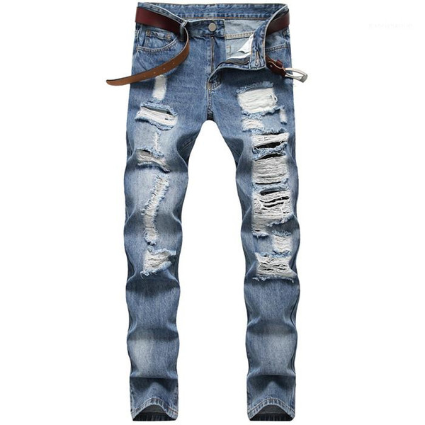 Cotton Jeans For Male Straight Men Jeans Hole Casual Pants Slim MensTrousers Light Blue Fit Loose