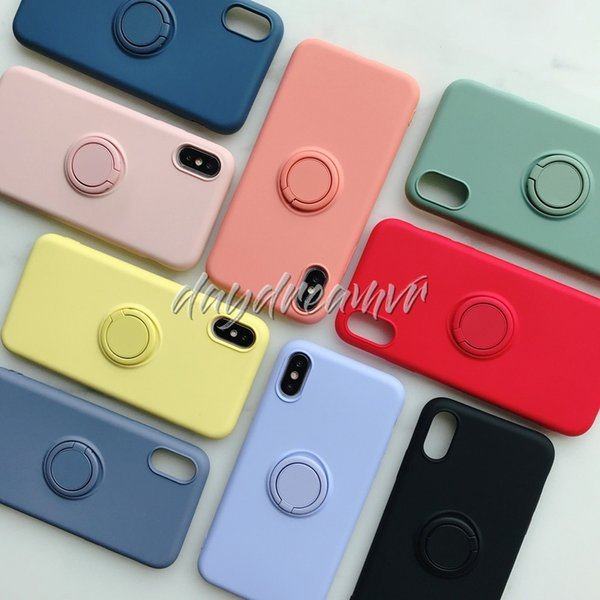 Liquid ilicone tpu magnetic ring phone cover ca e protected for iphone x max xr x phone ca e cover 100pc