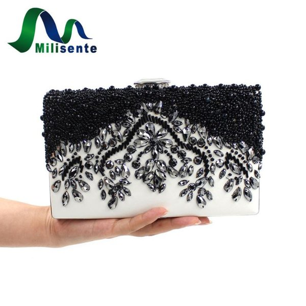 milisente women black clutch wedding bags female vintage clutches ladies beaded pearl evening bags party purses (517502155) photo