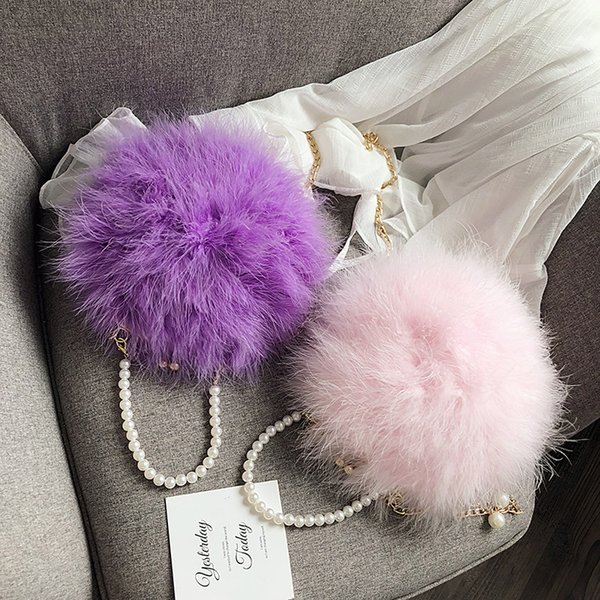 fur bag turkey feather bag pearl shoulder chain small round wholesale crossbody bags for women purses and handbags (502879744) photo