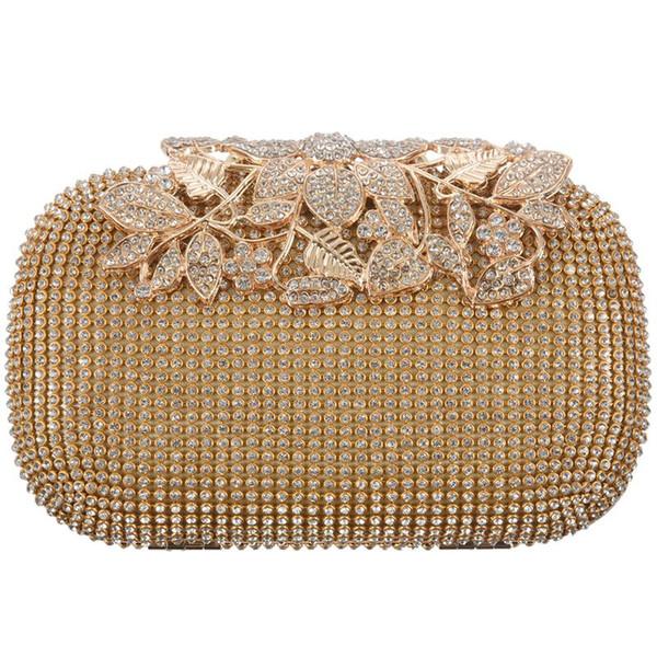 unique gold rhinestone evening bag clutch purse party bridal prom (525331383) photo
