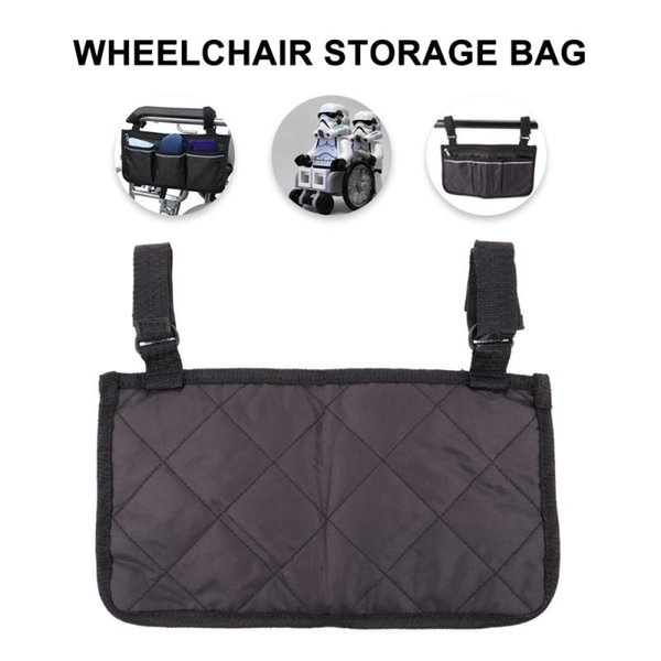 1pc Wheelchair Side Storage Bag Storage Pouch Seat Side Container Organizer Multi-pockets Pouch For Wheelchair Use (black)