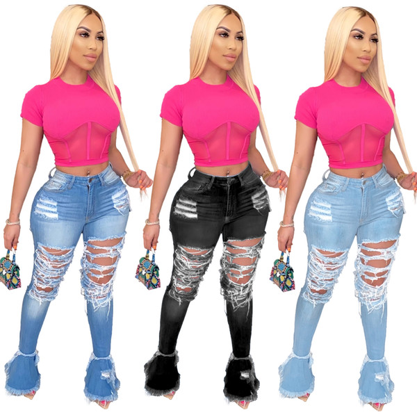 Women Denim Flared Long Pants Bell Bottom Jeans Trousers Sexy Hole Ripped Full Length Leggings Bodycon Streetwear Stylish Clothing