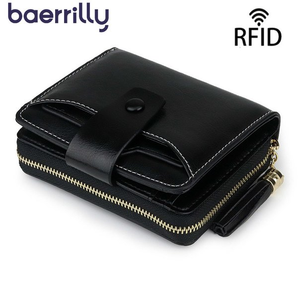rfid ladies short purses genuine leather women clutch bag small purses and handbags women wallet card holder coin purse girl (495479842) photo