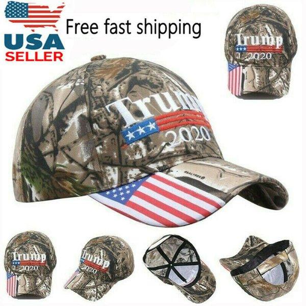 Горячие продажи мода бейсболка камуфляж новая вышивка флаг США 2020 Дональд Трамп переизбрание шляпа унисекс бейсболка открытый фото