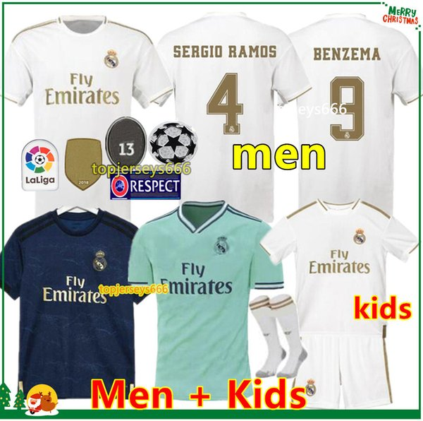 Real madrid  occer jer ey  2019 2020 maillot de foot  23 hazard benzema 19 20  ergio ramo  men jer ey and kid  kit  football  hirt