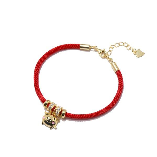 2019 Золотая свинья красная веревка золотой браслет любви красная веревка маленькая прекрасная свинья ручная веревка Шарм браслеты для женщин мужчины ювелирные изделия фото