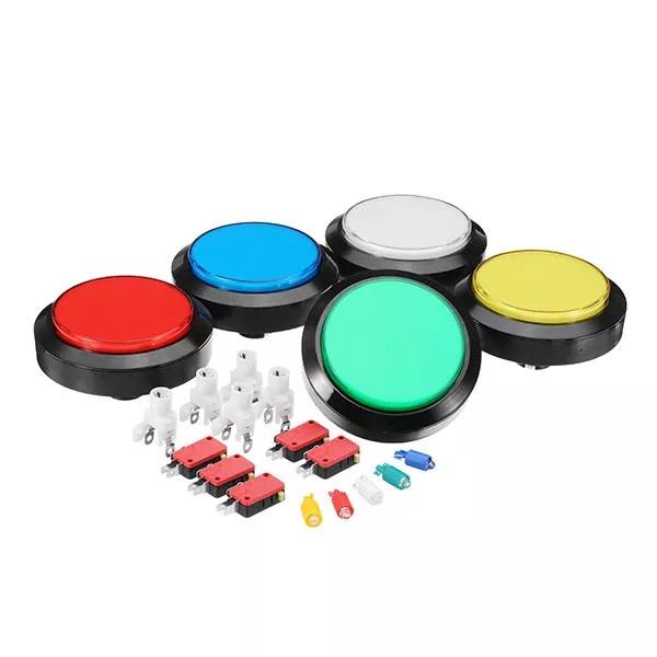 100mm 10cm Red Blue White Yellow Green Led Push Button For Arcade Game Console Controller Diy - Blue