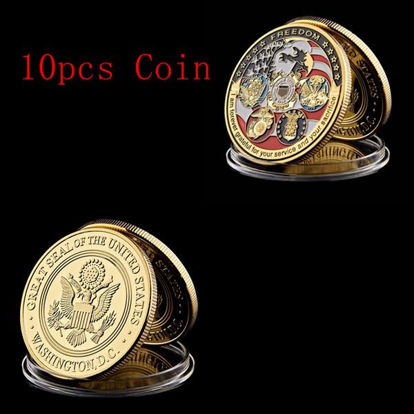 10шт свободы основные ценности США Орел вызов военной медали нам вызов значки, монетки металла сувенира поделки фото