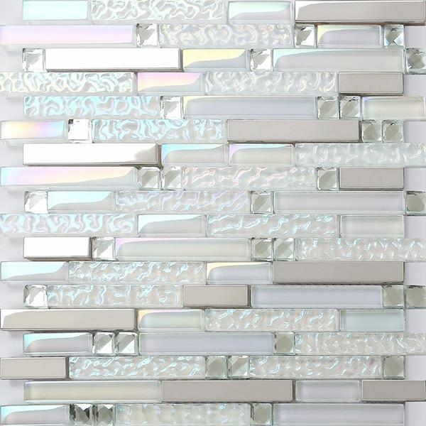 Стеклянная мозаика кухонная плитка Backsplash ванной душевая плитка SSMT399 серебристый