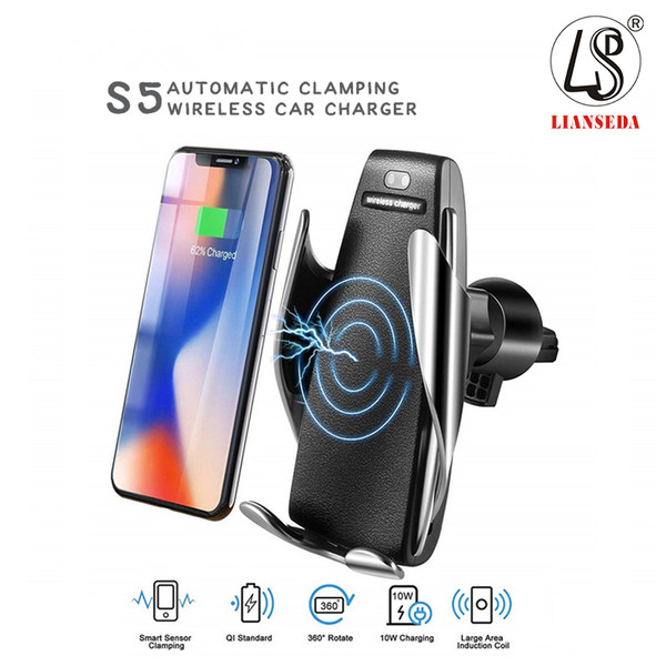 S5 wirele   car charger automatic clamping for iphone android air vent phone holder 360 degree rotation 10w fa t charging with box