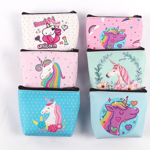 1pc girl kids coin purses holder kawaii animal unicorn flamingo women mini change wallets money bag children zipper pouch gift (475724347) photo