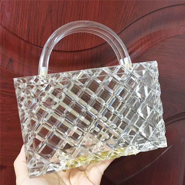 transparent pvc clear lozenge shape acrylic evneing handbag women totes evening party girl travel party braide purse bag (547488463) photo